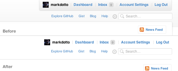 GitHub topbar before/after