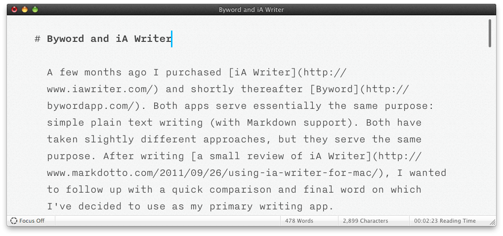iA Writer with example article