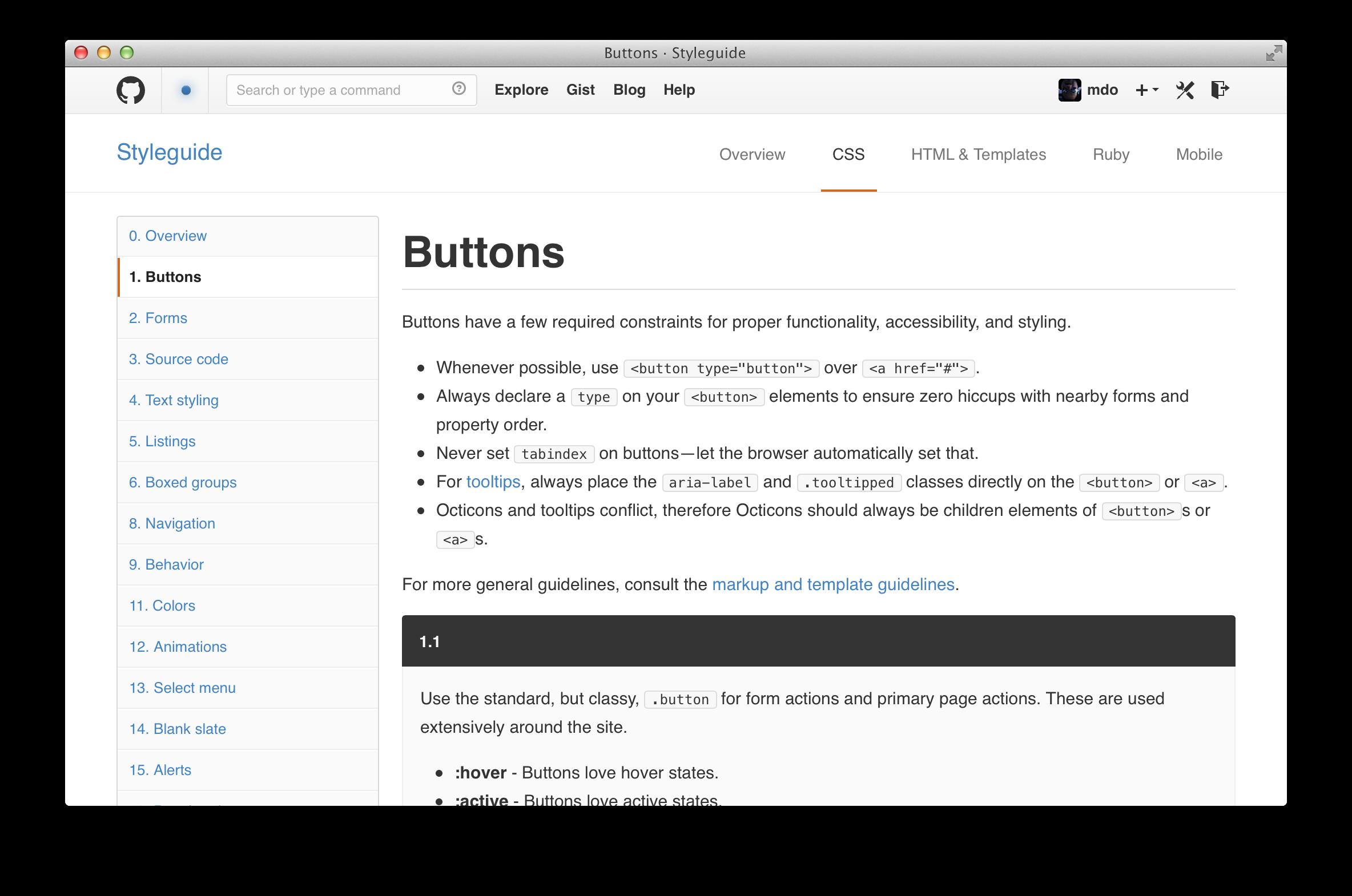 GitHub\'s CSS · @mdo