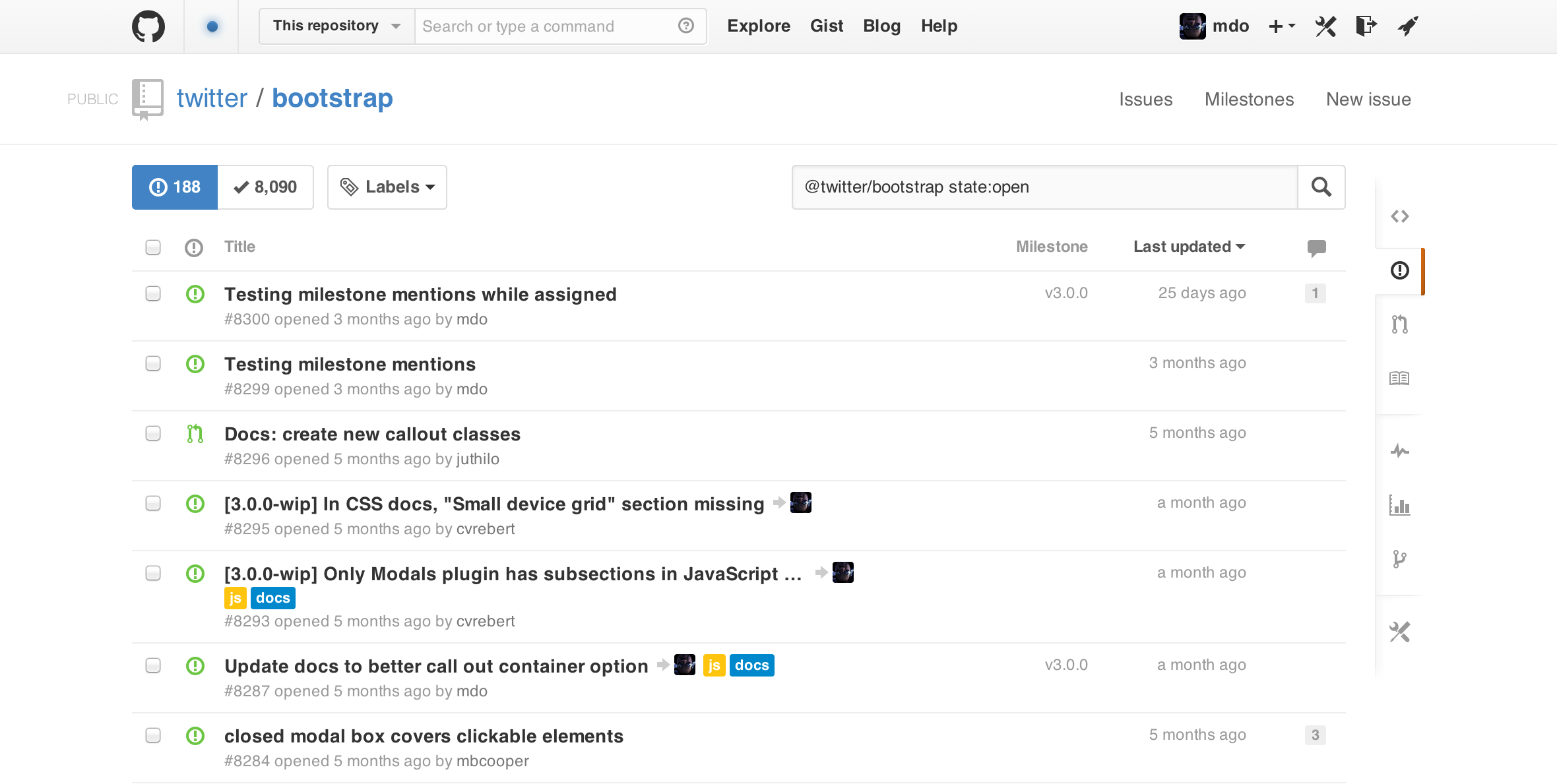 Shipping the new GitHub Issues · @mdo